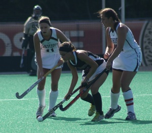 Amanda Magadan steals the ball from Lehigh