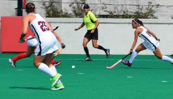 Amanda Magadan chases down a lose ball against Boston University