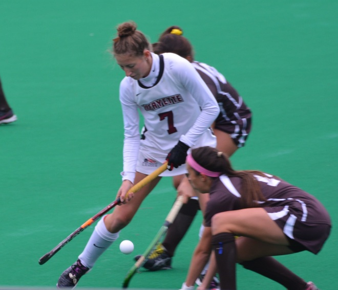 Ellen Colbourne powers her way through the Lehigh defense