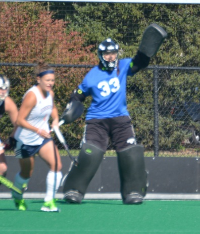 Katelyn Arnold stands tall in the goal against Bucknell