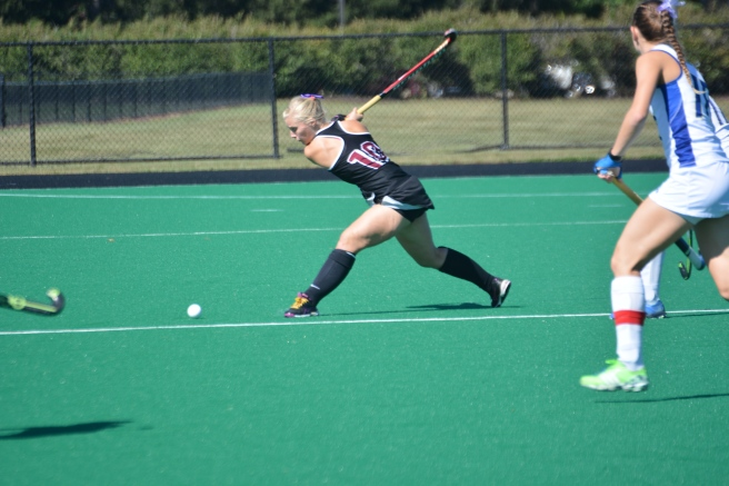 Rachael Bird shows her form, skill and strength delivering the ball upfield