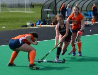 Liza Welch flips the ball over the Bucknell defenders stick