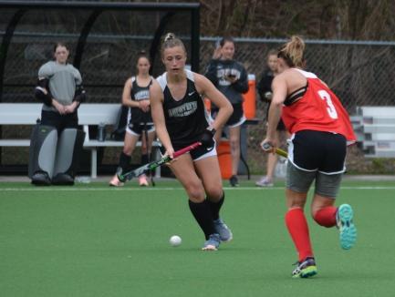 Jenn Delongis snags the ball against Maryland